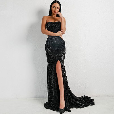2021 Black/silver sequin evening dress 2020 woman dress sweetheart sleeveless sexy open waist long party dress