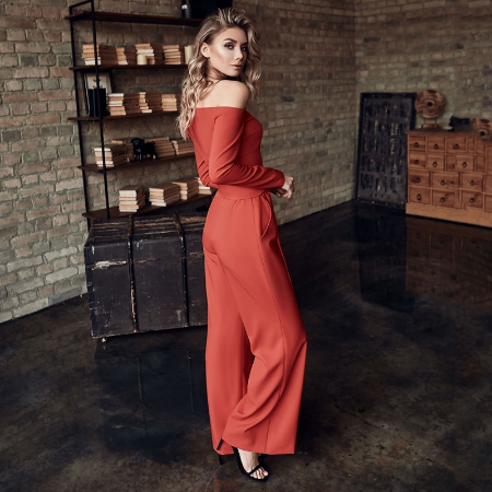 2021 Elegant Wide Leg Rompers and Jumpsuits 2021 Spring Women Long Sleeve One Shoulder Office Lady Overalls