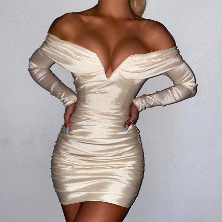 Townlike Off Shoulder Long Sleeve Winter Dress Pleated Bodycon Bandage Dress