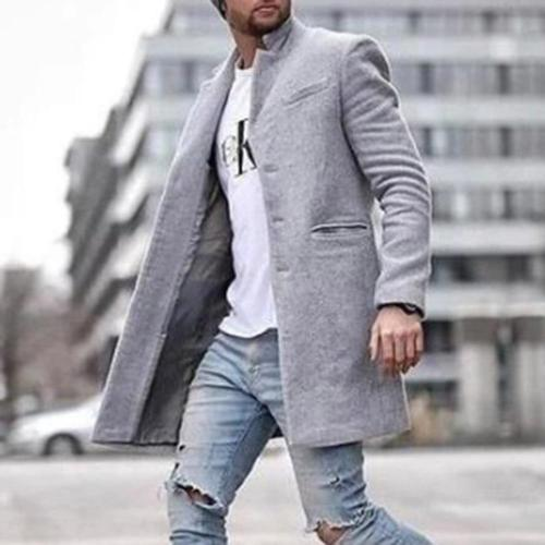 Fashion Wool Coat Men Plus Size Outwear Black Warm Men's Long Blazer Coats Office Overcoat