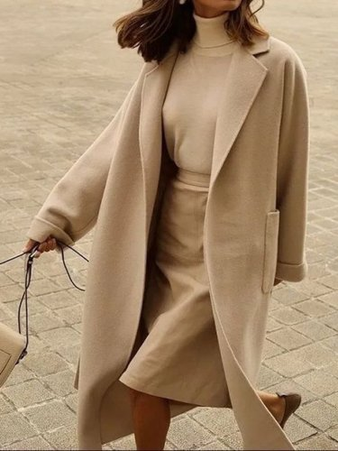 Fashion Lapel Long Sleeve Solid Color Casual Coat