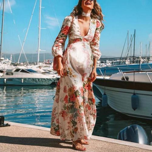 Maternity Printed Color Bishop Sleeve V-Neck Loose Beach Dress
