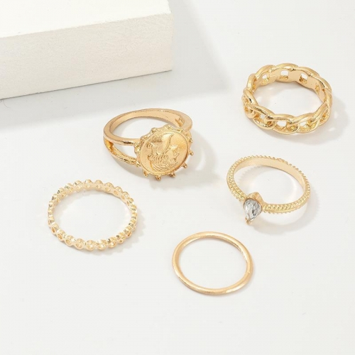 Fashion Portrait Ring Alloy Ring Set