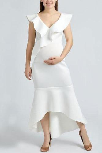 Maternity Deep V-Neck Flounce Plain High-Low Mermaid Evening Dress