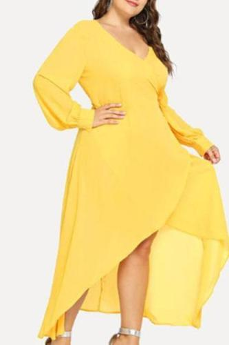 Plus-size Sexy V-neck Long Sleeves Solid Color Maxi Dress