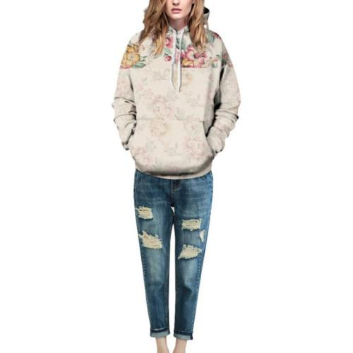 Hooded  Cutout  Contrast Stitching  Floral Hoodies