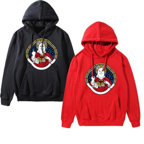 Hooded  Drawstring Patch Pocket  Printed Hoodies