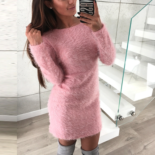 Solid Color Plush Long Sleeve Round Neck Midi Dress