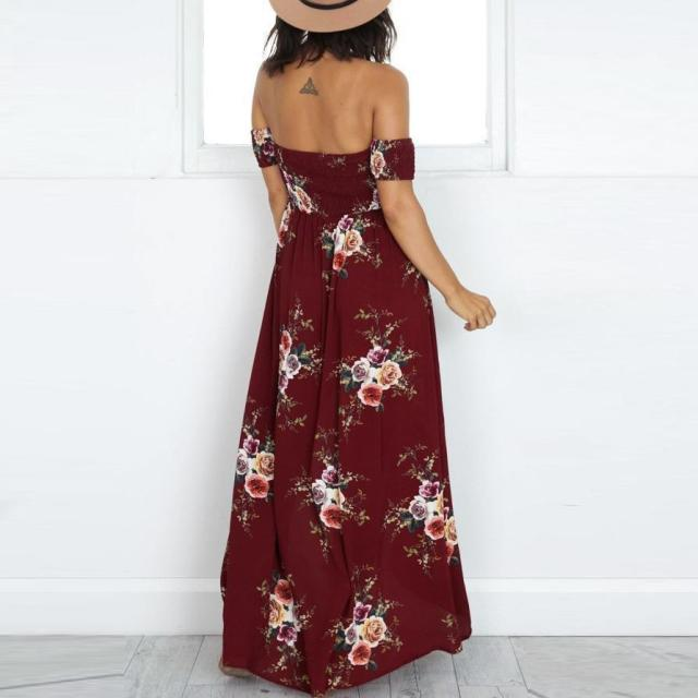 Vintage Boho Style Off Shoulder Floral Print  Maxi Vacation Dress