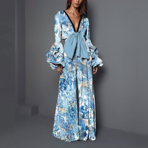 Sexy V collar   long-sleeved print waist trousers