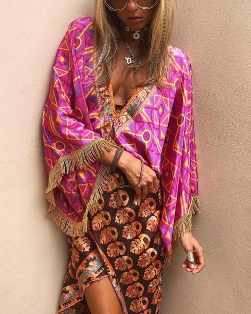 Sexy Vacation Boho Printed Tassel  Dress