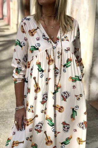 Floral V Neck Long Sleeves Casual Maxi Dress