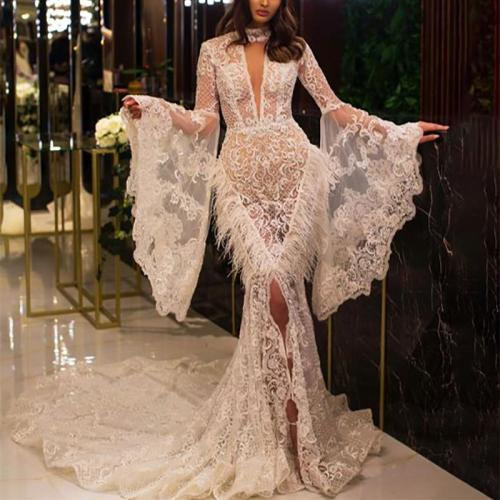 Elegant sexy lace fringed flared sleeves and evening dress