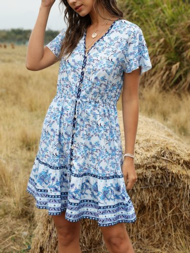 Holiday Printed  Frill Sleeve Floral Dress