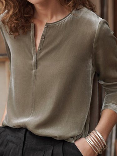 Casual Velvet Plain Long Sleeve T-Shirts