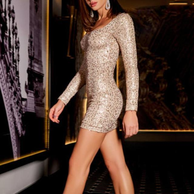 Fashion Square Neck Sequin Bodycon Mini Dress