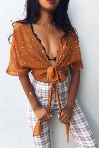 Sexy Short Sleeves T-Shirts Blouses
