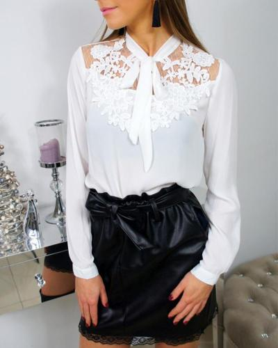 Tie Collar  Lace Plain Shirts&Blouses