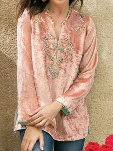Pink Printed Long Sleeve Floral Velvet Shirts & Tops