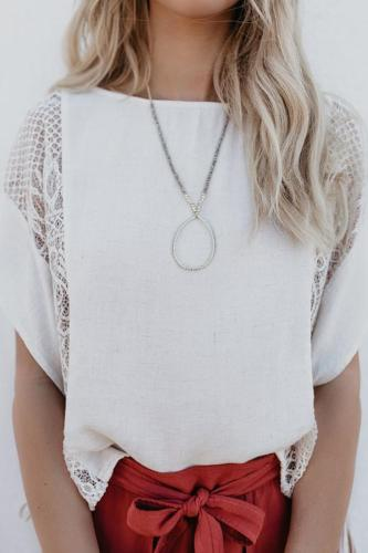 Stylish Casual Lace Splicing Loose T-Shirts