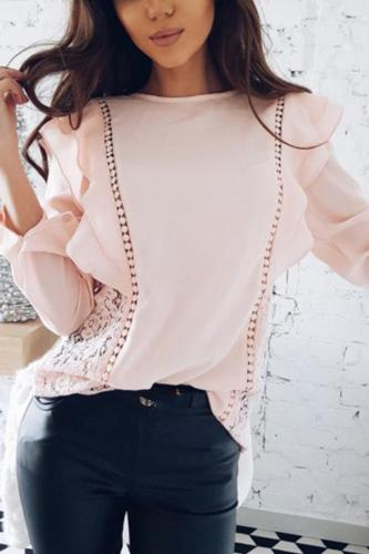 Stylish Splicing Chiffon T-Shirts Blouses