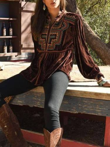 Brown Casual Long Sleeve Velvet Shirts & Tops