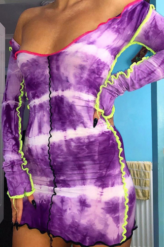 Purple Tie Dye Long Sleeve Bodycon Dress Fashion Sexy Club Dresses for Women