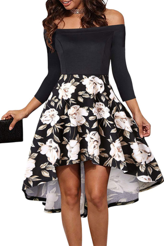 Fashion Floral Womens Off Shoulder Dress Evening Party Skater Dresses Women Clothing
