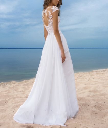 Sexy Beach Wedding Dress Floor-Length A-line White Chiffon Bridal Gown