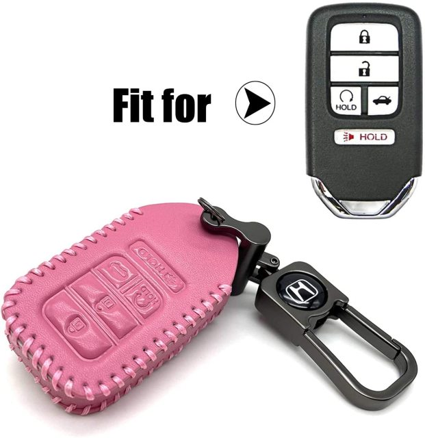 ROMASO Key Fob Case for Honda,Smart Key Fob Cover for Honda Accord Civic CR-V CRV Pilot EX-L Touring Premium, Genuine Leather & Hand Stitched,Pink