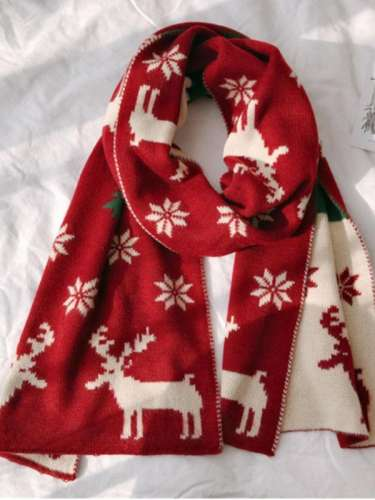 Women's autumn and winter christmas print warm scarf