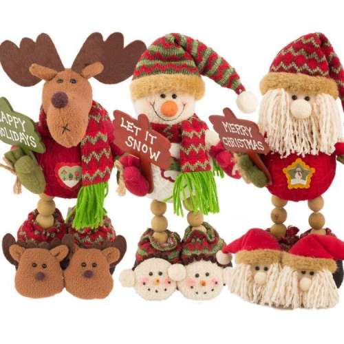 Christmas Dolls Ornaments Creative Wooden Beads Legs Standing Santa Claus Snowman Deer Christmas Decorations