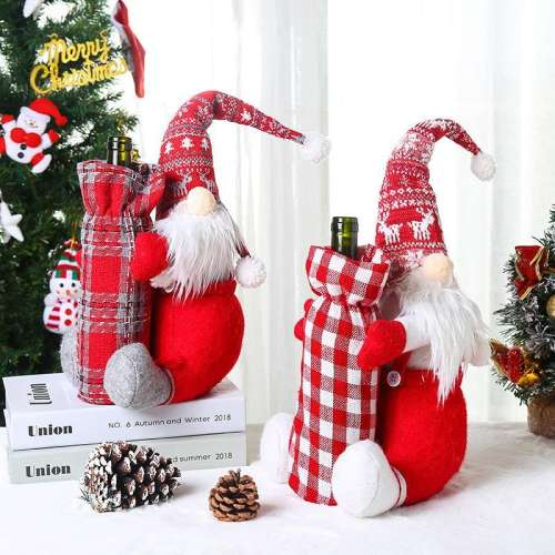 Christmas Ornaments Red Wine Bottle Set Santa Claus Wine Bag Holiday Dress Up