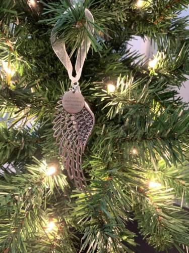 "Christmas Ornaments Angel Wings -""I Have An Angel Watching Over Me And I Call Him Dad""Ornament"
