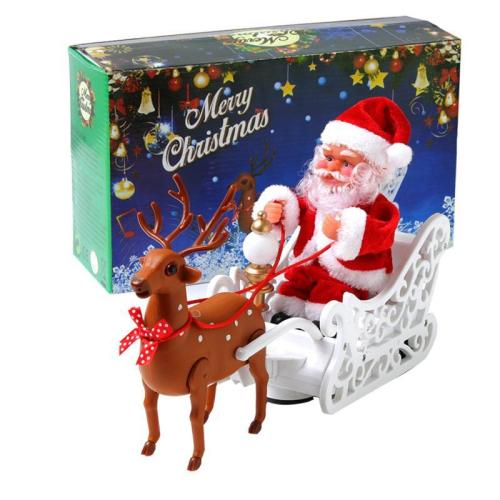 Music small doll pulled by electric Santa Claus deer cart
