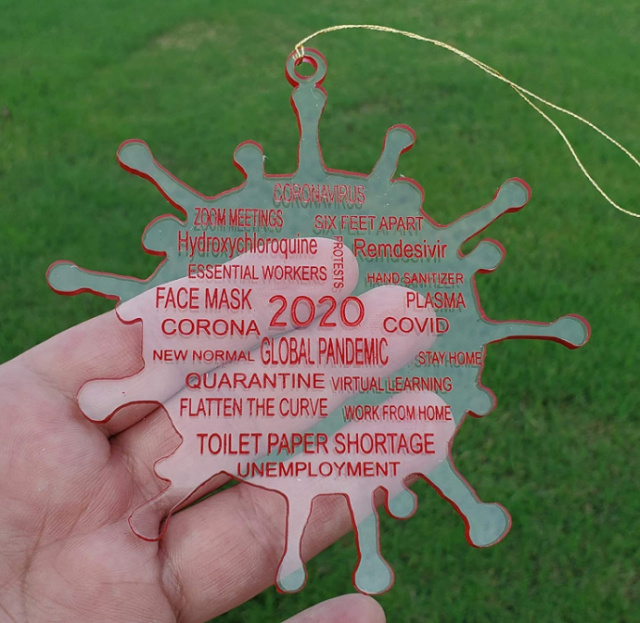 2020 Year in Review Clear Acrylic Christmas Ornament