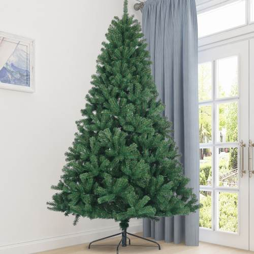 Artificial Christmas Tree Hinged Full Natural Spruce PVC Fir Tree 7.5ft Foldable Metal Stand Unlit Green