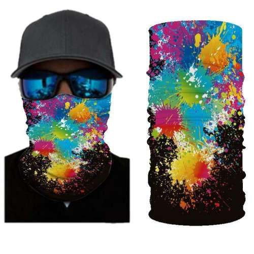 Colorful RED Orang Blue Black White & Yellow  BANDANAS HEADBAND SHIELD UNISEX NECK GAITER FOR OUTDOOR SPORTS