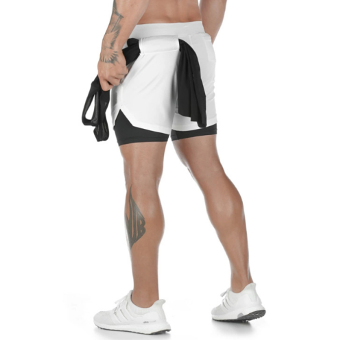 Men's 2-in-1 Bodybuilding Workout Shorts Lightweight Gym Training Short Running with Pockets