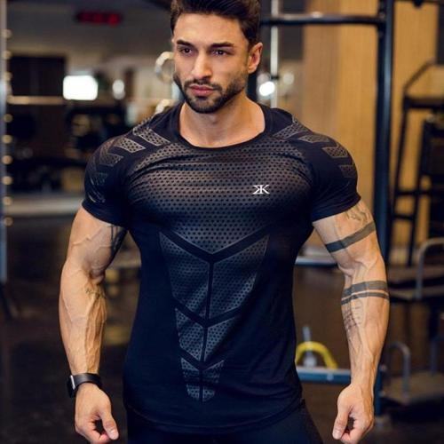 Compression Quick dry T-shirt Men Running Sport Skinny Short Tee Shirt Male Gym Fitness Bodybuilding Workout Tops Clothing