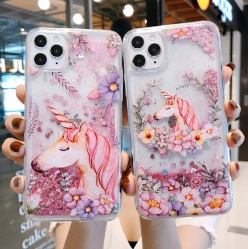 Glitter Unicorn Case Waterfall Liquid Sparkling Quicksand Clear Protective Case For iphone