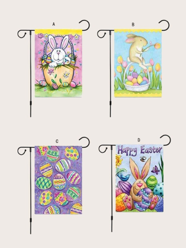 Happy Easter Bunny and Eggs Double-sided Outdoor Garden Flag Yard Flags