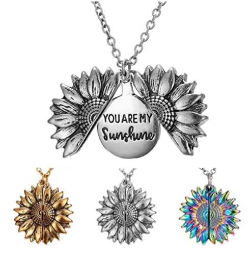 { Buy 2 Get 1  Free } You Are My Sunshine Engraved Necklace Inspirational Sunflower Locket Necklace Jewelry for Women girlfriend