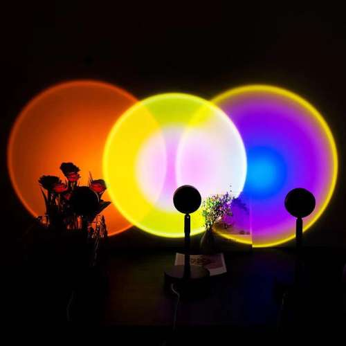 Sunset Projection Led Light, Rainbow Floor Stand Modern Lamp Night Light for Living Room Bedroom Romantic Projector Gift for Wedding Birthday Party -USB Charging (Rainbow)