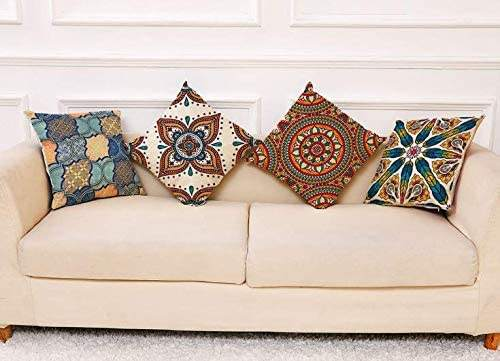 Decorative Pillowcases Throw Pillow Covers, Set of 4 Decorative Cushion Flax Covers, Sofa Office Decor Cushion Cover (Mandala Flower Pattern,18 x 18 inch)