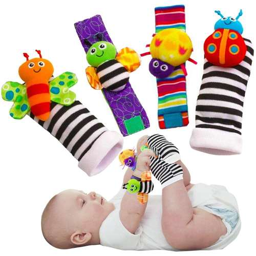 Cute animal socks for babies, toys, wrist rattles and foot finders, for funny butterflies and ladybugs set, 4 pieces