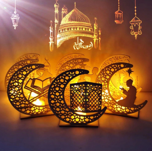 Eid Crafts Night Light, Handmade 3D Wooden Moon and Star LED Lights Decor, Ramadan Mubarak Lamp Decorations, Home Party, Bedroom, Eid Ornaments, Gift for Muslims, Ramadan Gift, Islamic Wall Table Decoration