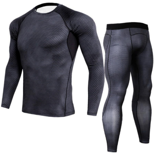 Men Snake Print Long Sleeve Quick Dry Compression T-Shirt and Tights Tops+Pants Sports Tracksuits