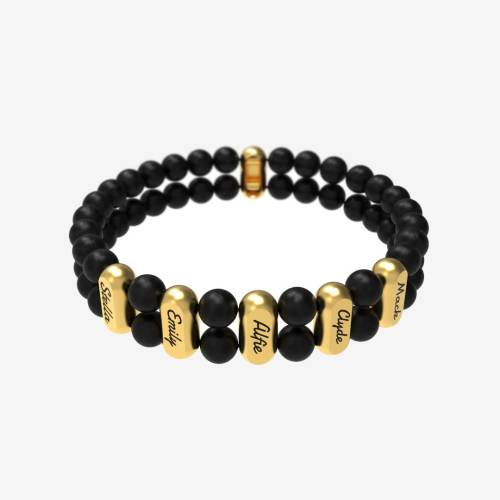 Layerd Beads Customize Name  Men Bracelet