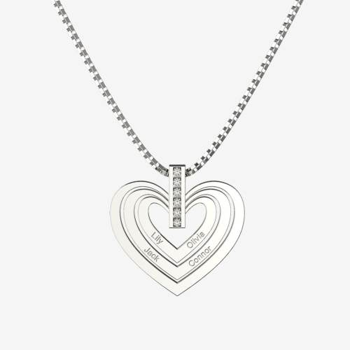 Engraved Family Names Heart Charm Necklace In 925sterling silver